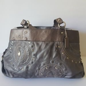 COACH LEATHER SATCHEL COLOR GRAY SILVER